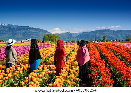 Vibrant photo of a bright colorful tulip field with people - stock photo