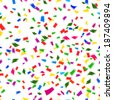 Vibrant seamless pattern of falling paper confetti in the colors of the rainbow or spectrum in a festive  party  or holiday concept such as New Year  Christmas  wedding or birthday - stock photo