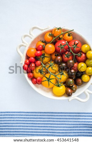 vibrant selection of tomatoes, produce from local market