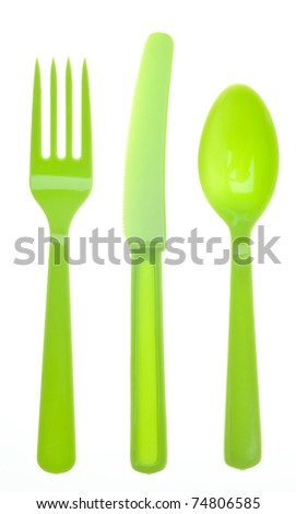 Vibrant Silverware Isolated on White with a Clipping Path.