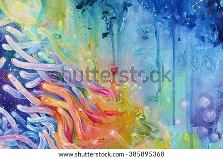 Vibrant spectrum colorful acrylic abstract painting of corals with paint strokes and drips on canvas texture. - stock photo