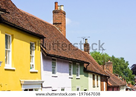 Vibrant town houses in Woodbridge, Suffolk - stock photo