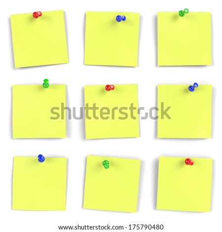 Vibrant yellow notes with push pins on white board. Computer generated image with multiple clipping paths. - stock photo
