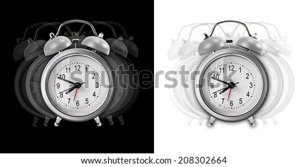 Vibrate metal alarm clock isolated on black and white background - stock photo