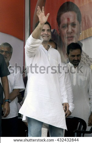 Vice-President of the Indian National Congress party Rahul Gandhi wave his hand to his supporter in a election campaign rally at Park Circus on April 27, 2016 in Calcutta, India.