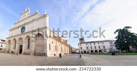VICENZA, ITALY - JAN 31, 2015: Scene of Piazza del Duomo (Cathedral Square), with local and tourists, in Vicenza, Veneto, Italy - stock photo