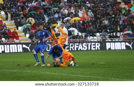 VICENZA, ITALY - October 13, 2015: UEFA Under-21 Championship Qualifying Round, football match between Italy and Republic of Ireland at Romeo Menti Stadium.
