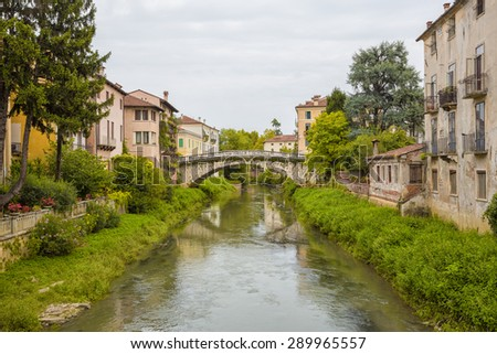 Vicenza (Italy) - View of the Retrone river and San Michele bridge