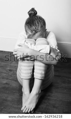 Victim of child abuse - stock photo