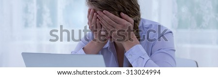 Victim of cyber bullying and violence - panorama - stock photo