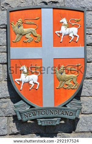 VICTORIA BC CANADA JUNE 22 2015: Coat of arms of Newfoundland is a large Canadian island off the east coast  and the most populous part of the Canadian province of Newfoundland and Labrador  - stock photo