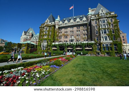 VICTORIA BC CANADA JUNE 19 2015:The Empress hotel is a symbol for the city itself. It has been designated a National Historic Site due to its national significance