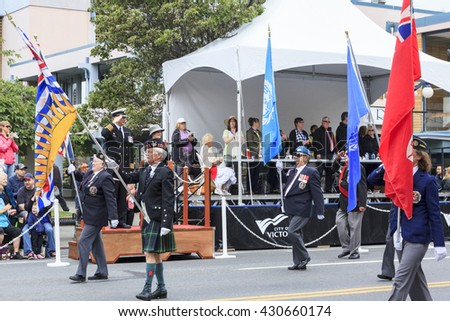 VICTORIA,BC,CANADA-MAY 23,2016: Canadian forces on  the Victoria Day parade along Douglas Street.  This is Victoria'??s largest parade, attracting well over 100,000 people along the rout.