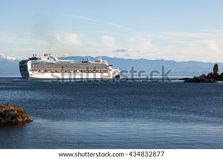 VICTORIA, BC, CANADA - MAY 21 2016. Cruise ship in Victoria. Each year hundreds of cruise ships docks in for a day or two. Victoria's charm and beauty has a lot to offer for any world traveler.