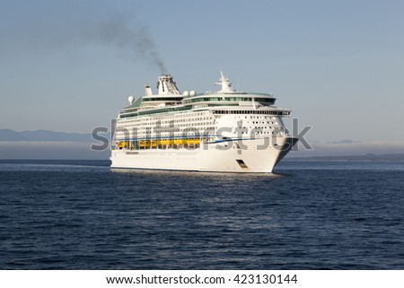 VICTORIA, BC, CANADA - MAY 17 2016. Explorer of the Seas in Victoria. Each year hundreds of cruise ships docks in for a day or a few hours. Ogden Point is also the place to see them come into port. - stock photo