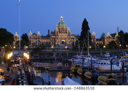 VICTORIA BC - JULY 10: Couple accused in BC legislature bombing plot receive one month court adjournment. Photo shows BC legislature building, the target of the plot on July 26, 2013. - stock photo