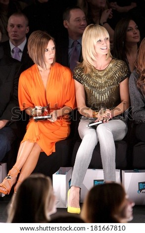 Victoria Beckham, Heidi Klum at the Project Runway Fashion Show out and about for CANDIDS at Mercedes-Benz Fashion Week 2008 Fall Collections, Manhattan, New York, February 01, 2008 - stock photo