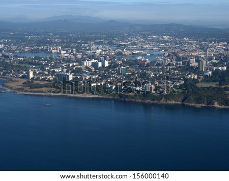 Victoria, British Columbia, aerial view from the south.  Beacon Hill Park is to the right.  The Inner Harbour & Parliament Building are in the center of the picture. - stock photo