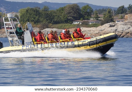VICTORIA, CANADA - AUGUST 2, 2005: People enjoying Ride with Inflatable Boat and Whale Watching in the Pacific Ocean. - stock photo