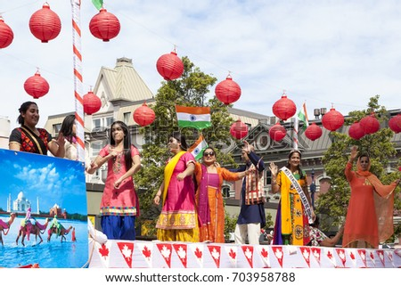 Victoria  Canada May 22,2017: Indian Cultura Association of Canada  in Victoria Day Parade. This is Victoria's largest parade and attracting well over 100,000 people from Canada and USA..