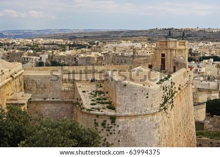 Victoria citadel in Gozo. Malta - stock photo