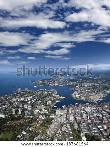 Victoria - city and Inner Harbour, Vancouver Island, British Columbia, Canada - stock photo