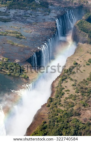 Victoria Falls, dicovered by David Livingstone in 1865,  from Zambia side