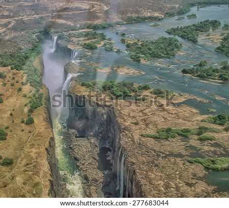 Victoria Falls from aircraft, Zimbabwe Africa.  Photo ar, - stock photo