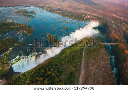 Victoria Falls from the air in the afternoon - stock photo