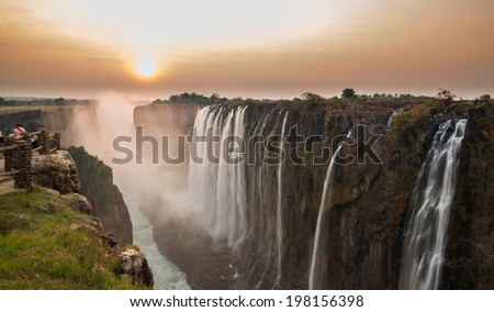 Victoria Falls sunset, View from Zambia - stock photo