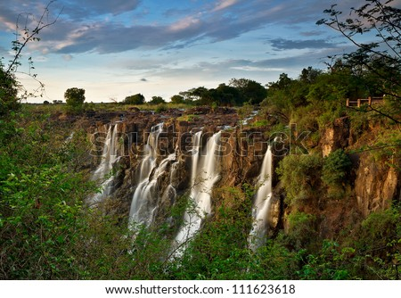 Victoria Falls, Zambia, at sunrise - stock photo