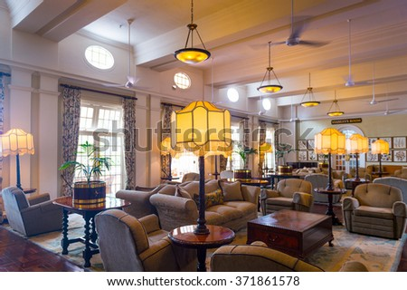VICTORIA FALLS, ZIMBABWE - JAN 14, 2016: Interior of the Victoria Falls hotel, historic hotel in Zimbabwe. The hotel was opened in 1904