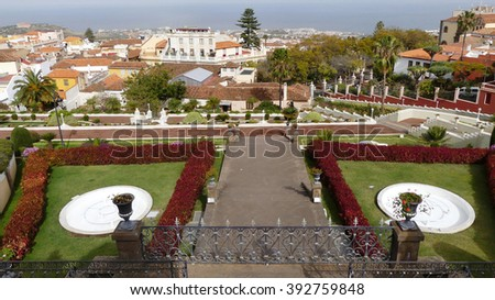 Victoria garden in Orotova village,Tenerife - stock photo