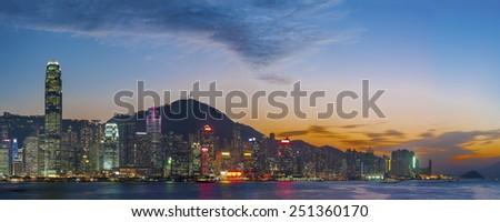 Victoria Harbor of Hong Kong at dusk  - stock photo