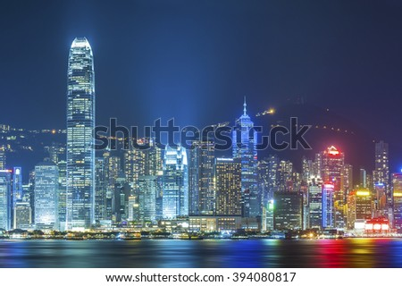 Victoria Harbor of Hong Kong at night