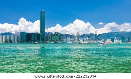 Victoria Harbor with the Transportation of Hong Kong  - stock photo