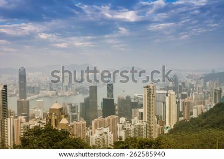 Victoria Harbour at night ,Hong Kong China - stock photo