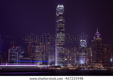 Victoria Harbour at night ,Hong Kong China