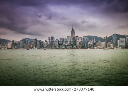 Victoria Harbour,Hong Kong China - stock photo