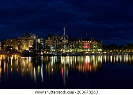Victoria Inner Harbour, The Empress Hotel and downtown at night - stock photo
