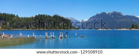 Victoria Island beach on Lake Nahuel Huapi, Bariloche, Patagonia, Argentina - stock photo