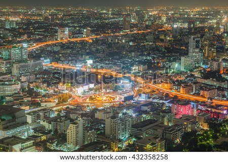 Victoria monument in Bangkok skyline at night, Thailand - stock photo