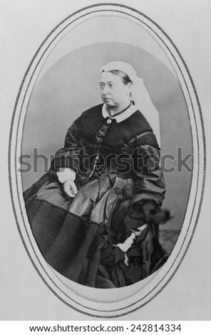 Victoria, Queen of England (1819-1901), in widows mourning clothes three years after the death of he husband, Prince Albert. April 3, 1866. - stock photo