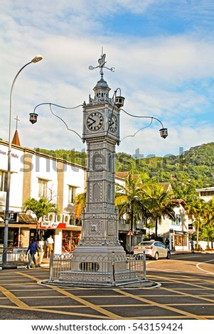 VICTORIA, SEYCHELLES-DEC.13, 2014: Modelled after the Vauxhall Clock Tower in London, this clock tower is the focal point of Victoria and was brought to the Seychelles when still a British colony.