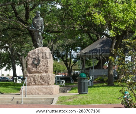 VICTORIA, TEXAS : JUNE 5 2015: Statue in De Leon Plaza dedicated in 1912 to the soldiers of the Confederate States of America.
