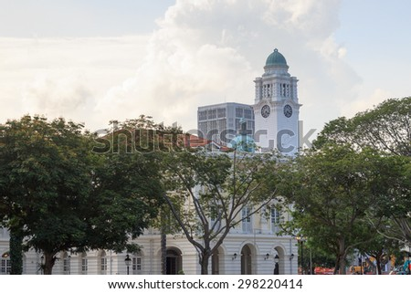 Victoria Theatre and Concert Hall clock tower in Singapore - stock photo