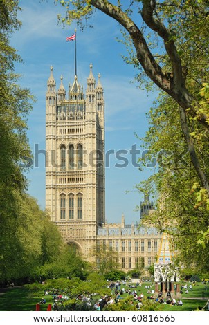Victoria Tower, Houses of Parliament, London - stock photo