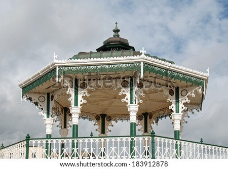 Victorian Bandstand on Brighton Promenade, East Sussex - stock photo