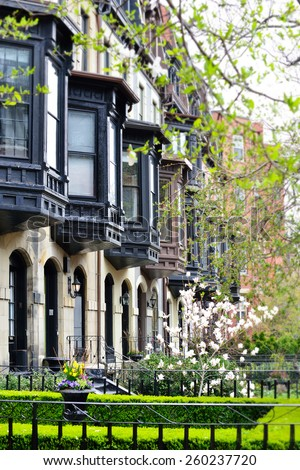 Victorian bay windows in Back Bay, Boston - stock photo