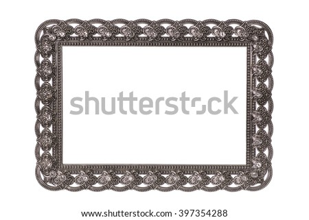 Victorian blank silver frame isolated on white background